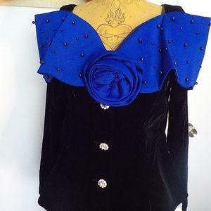 Black Velvet w/Blue Off Shoulder Top